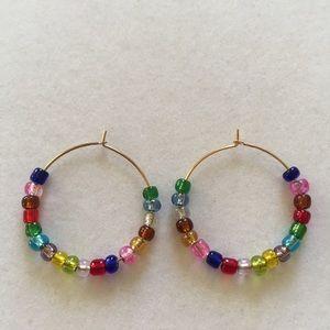 Multi-colored hoop earrings, handmade & NWT